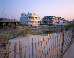 NORTH CAROLINA - Beach houses at sunrise on the Atlantic Coast at Wrightsville Beach.. Image shot 10/2007. Exact date unknown.